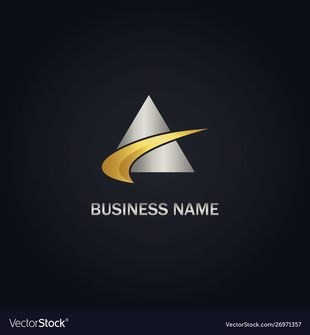 Triangle abstract loop gold logo