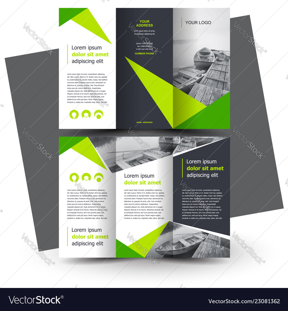 Creative Brochure Design Templates: Brochure Design Template Creative Tri-fold Green Vector Image