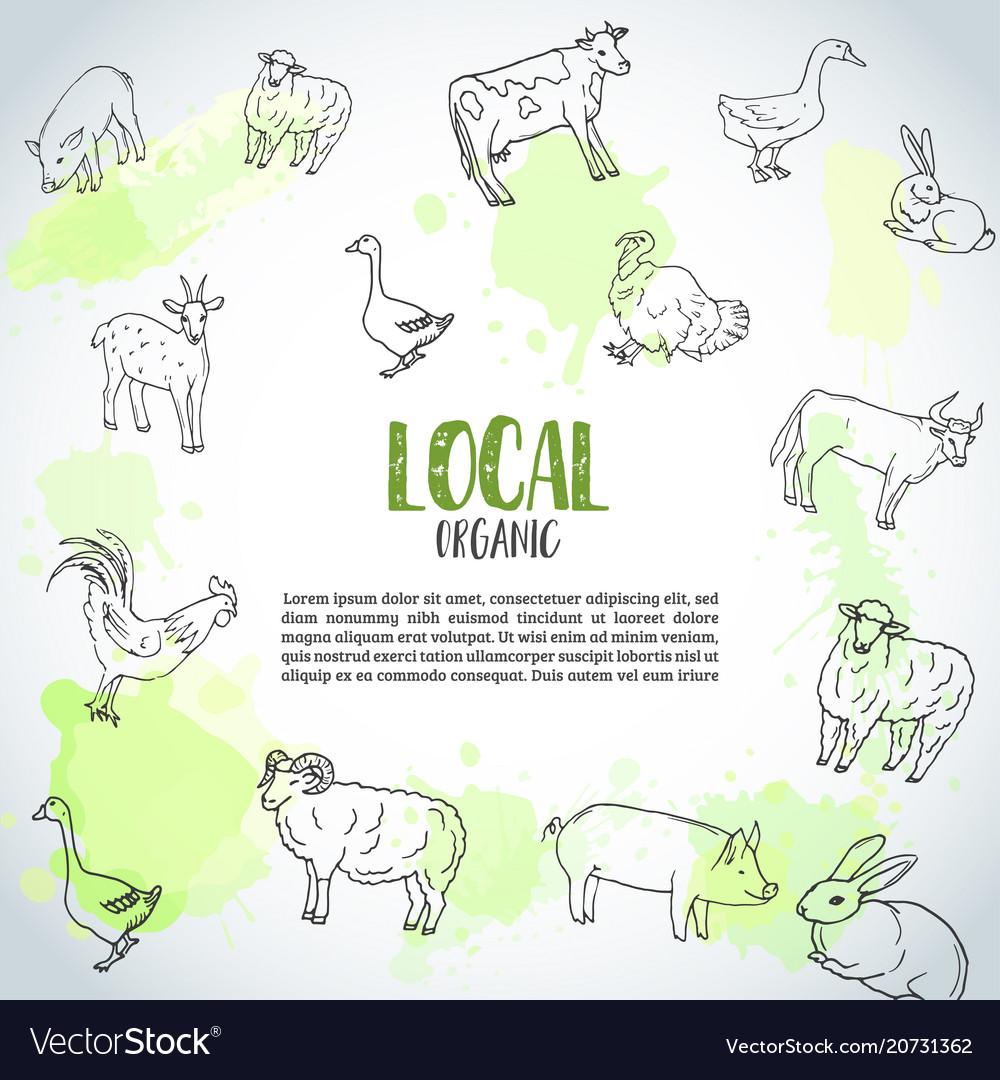Hand drawn farm animals background farming