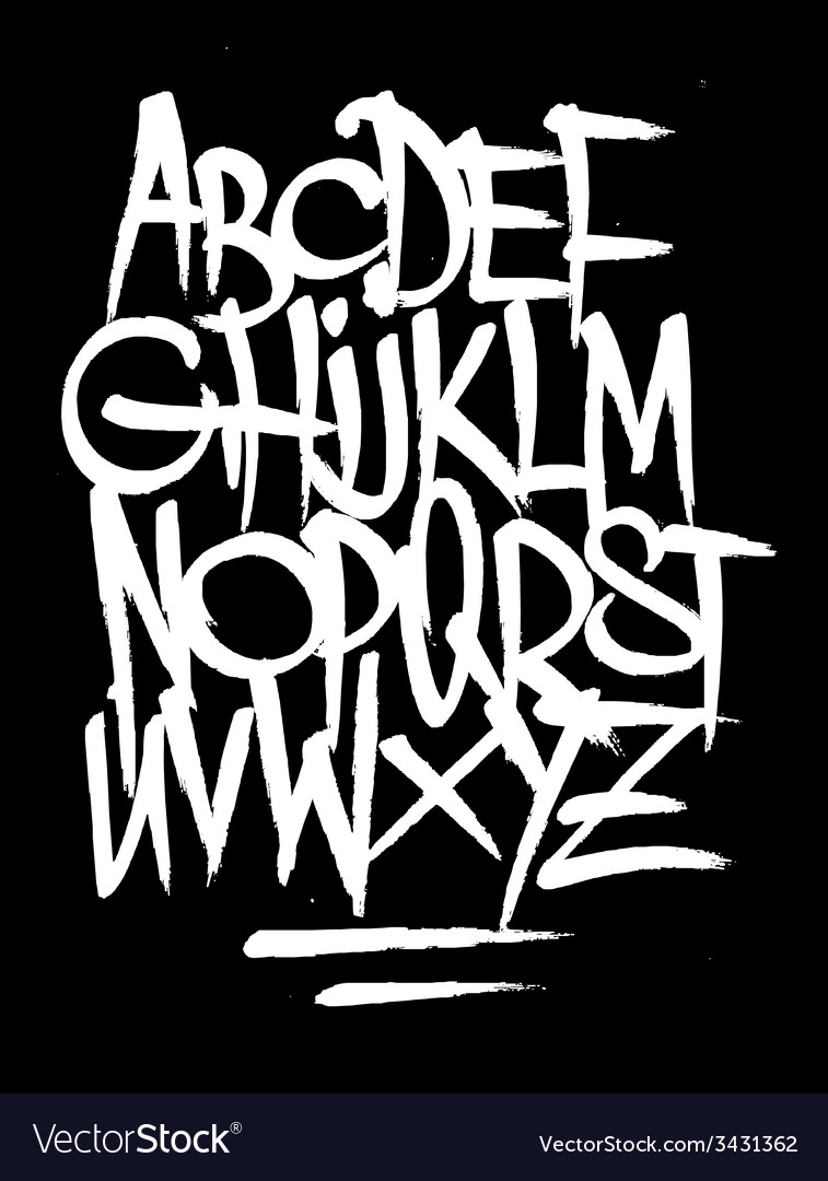 Hand style graffiti font alphabet vector image