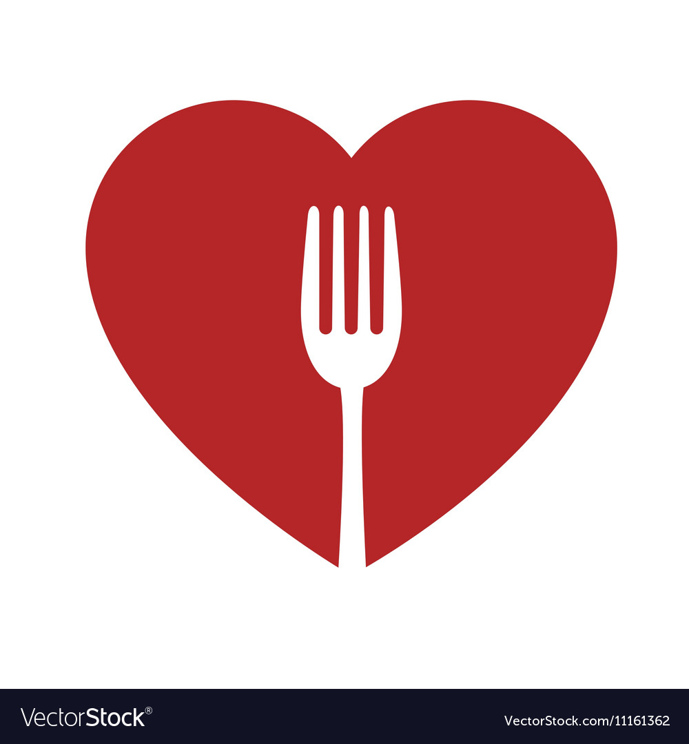 Heart and fork sign healthy food icon