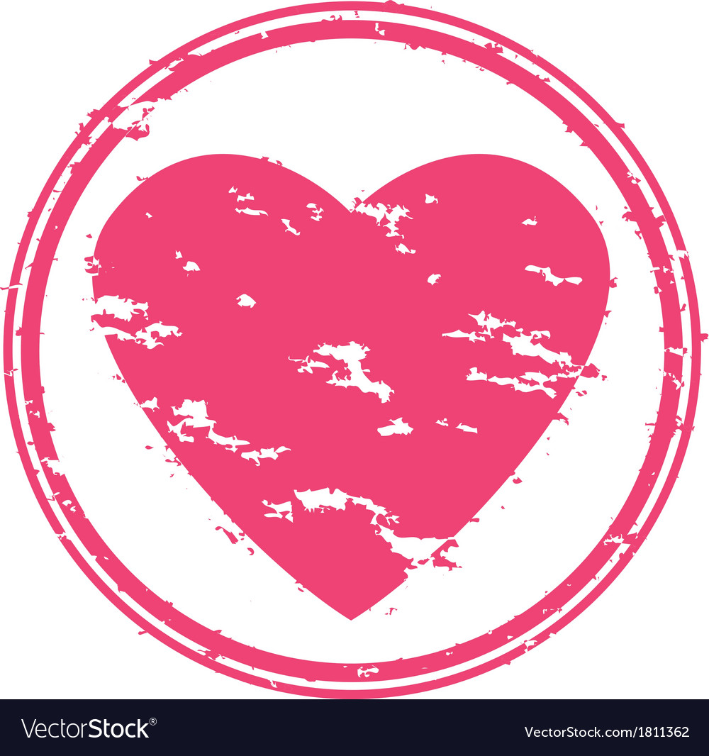 Heart grunge rubber stamp vector image