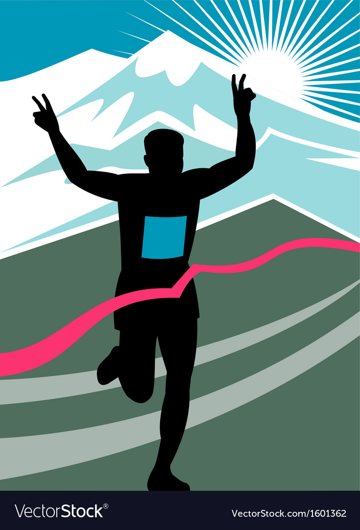 Marathon runner finish line vector image