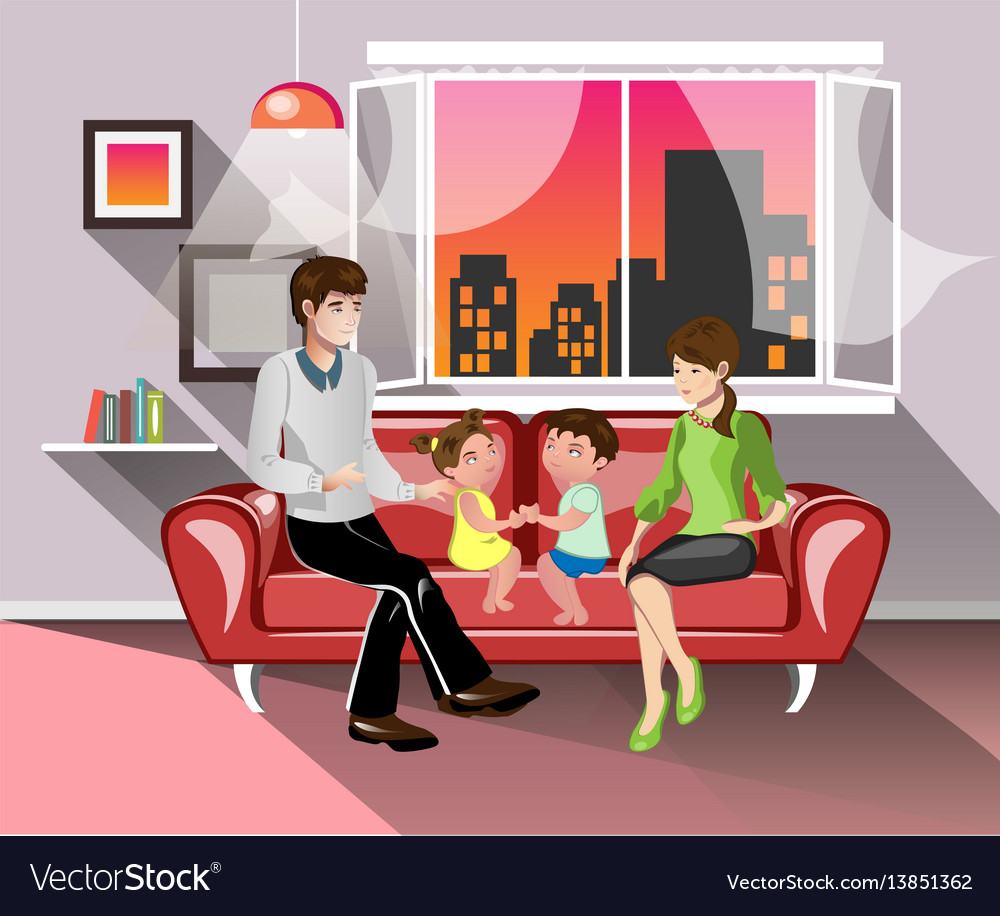 Parents and their children in living room