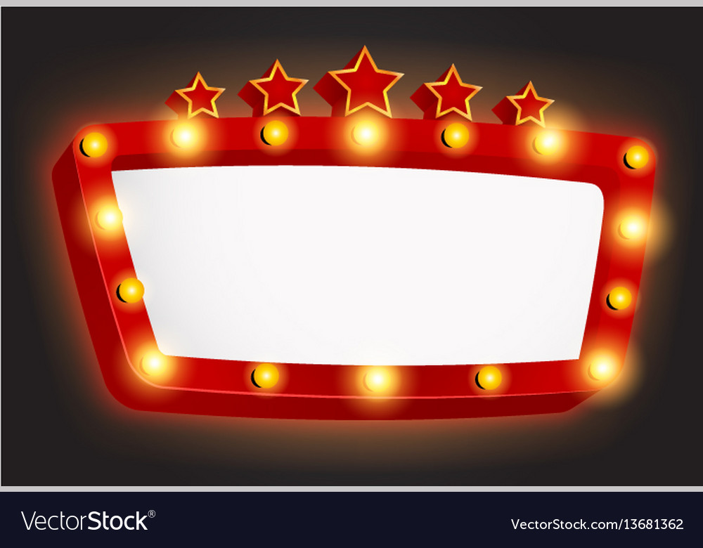 Retro light frame banner with star Royalty Free Vector Image