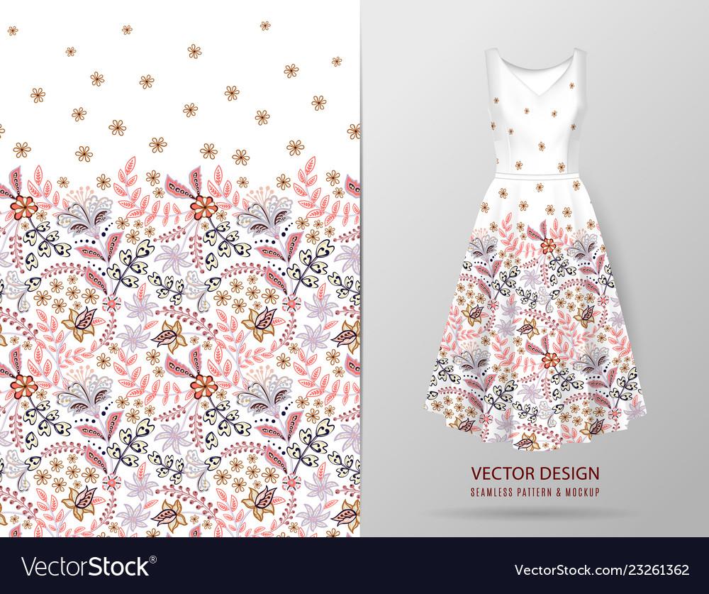 Seamless vertical fantasy flowers border pattern