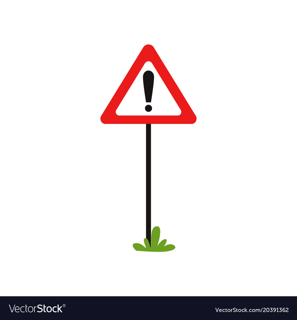 Triangular Road Sign With Exclamation Mark Vector Image
