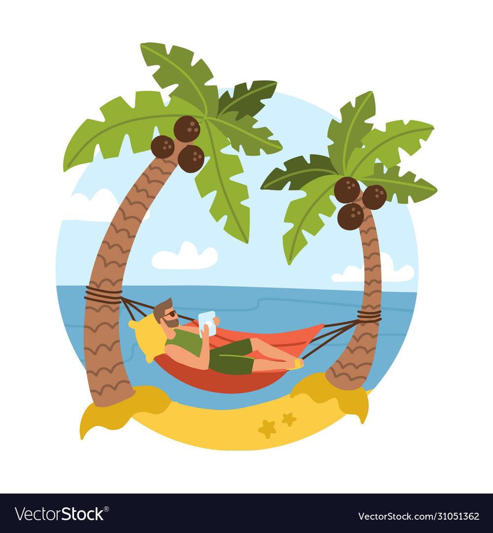 Young bearded man on beautiful tropical beach