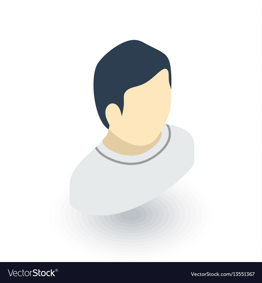 Avatar man isometric flat icon 3d