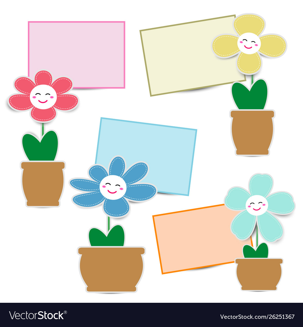 Cute flower paper with smiley face and paper note