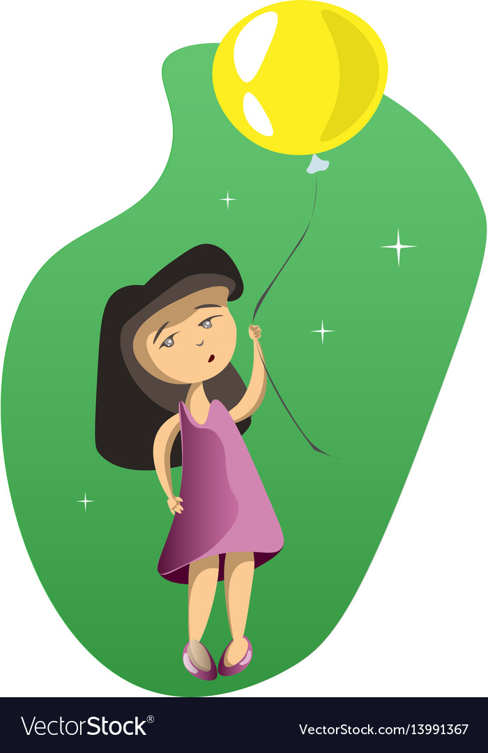 Cute girl with balloons vector image