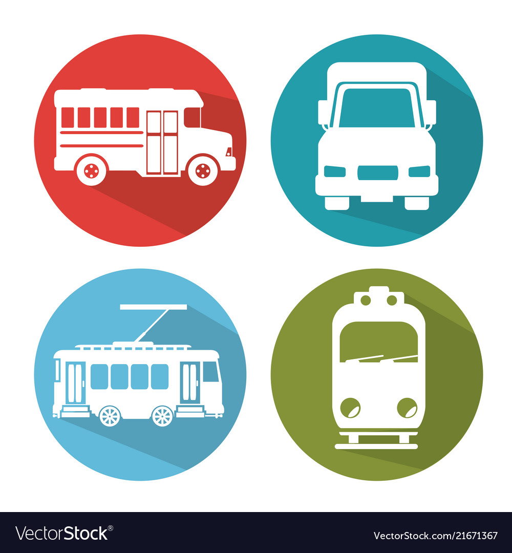 Differents transport vehicle icons