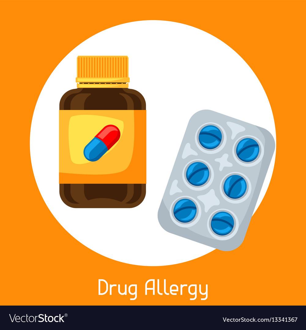 Drug allergy for medical vector image