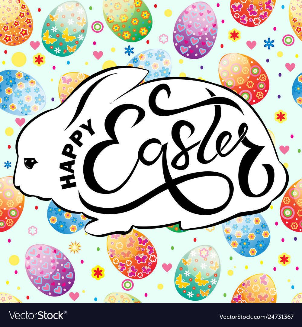 Easter card with rabbit silhouette and text