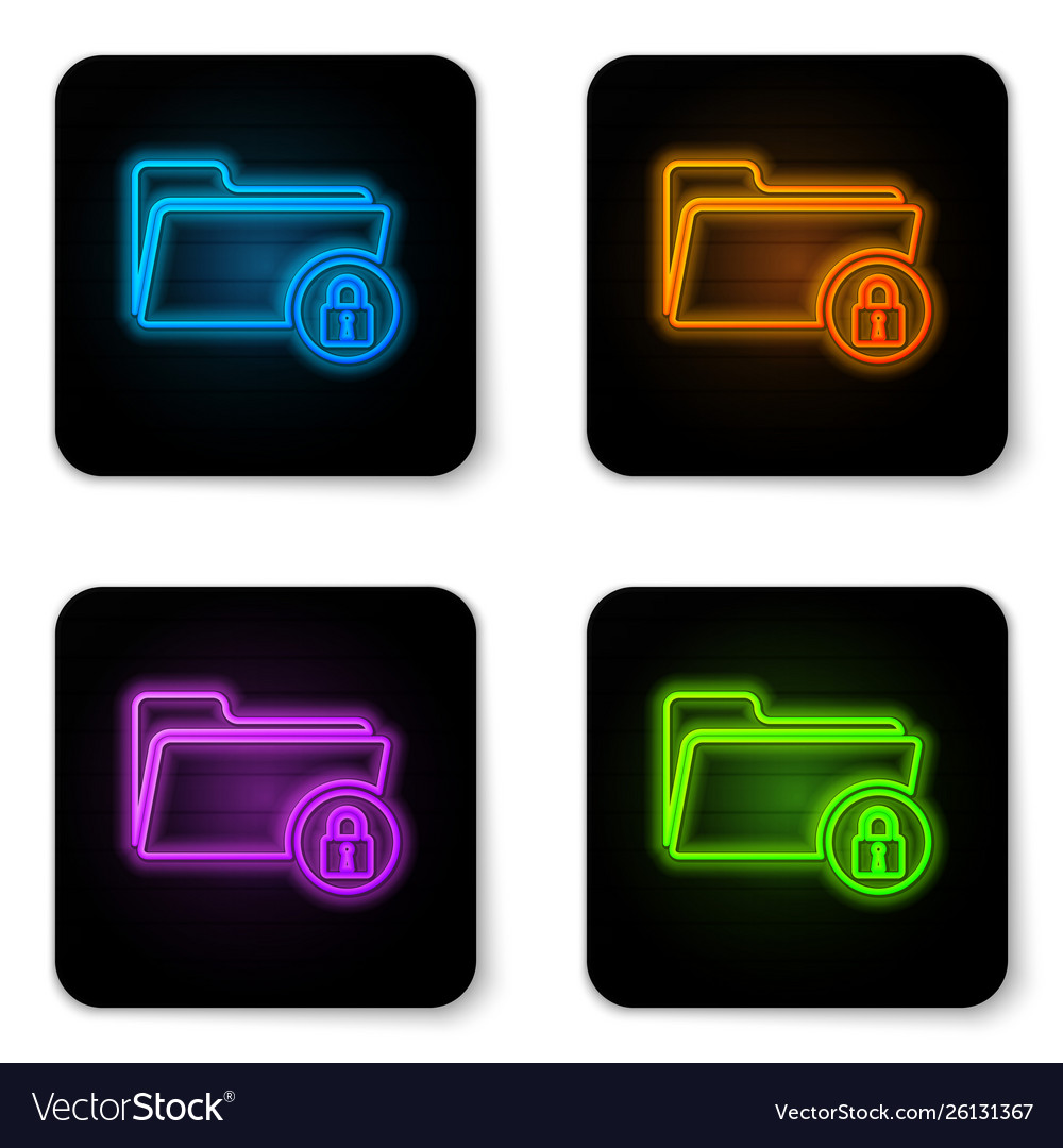 Glowing neon folder and lock icon isolated on