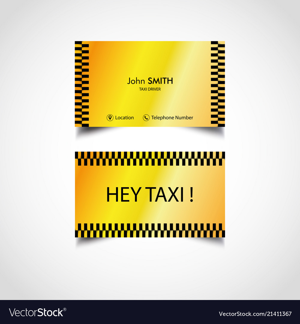 Golden Luxury Taxi Driver Card Templates Vector Image