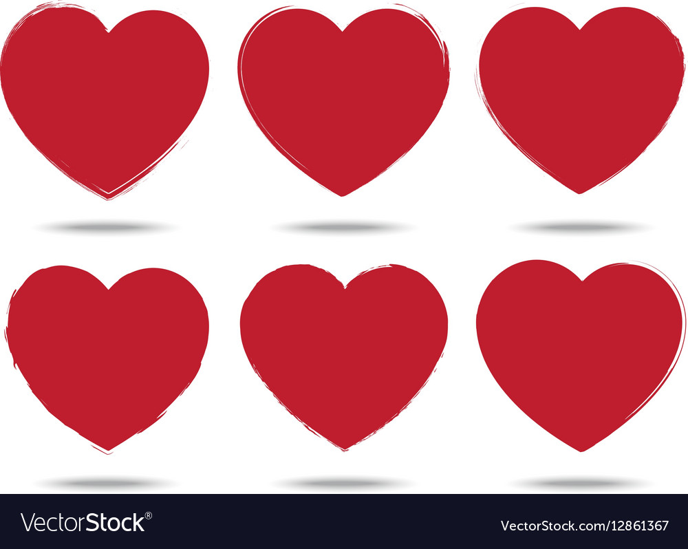 Heart Set Of Brush Stroke Style Love Symbols Vector Image