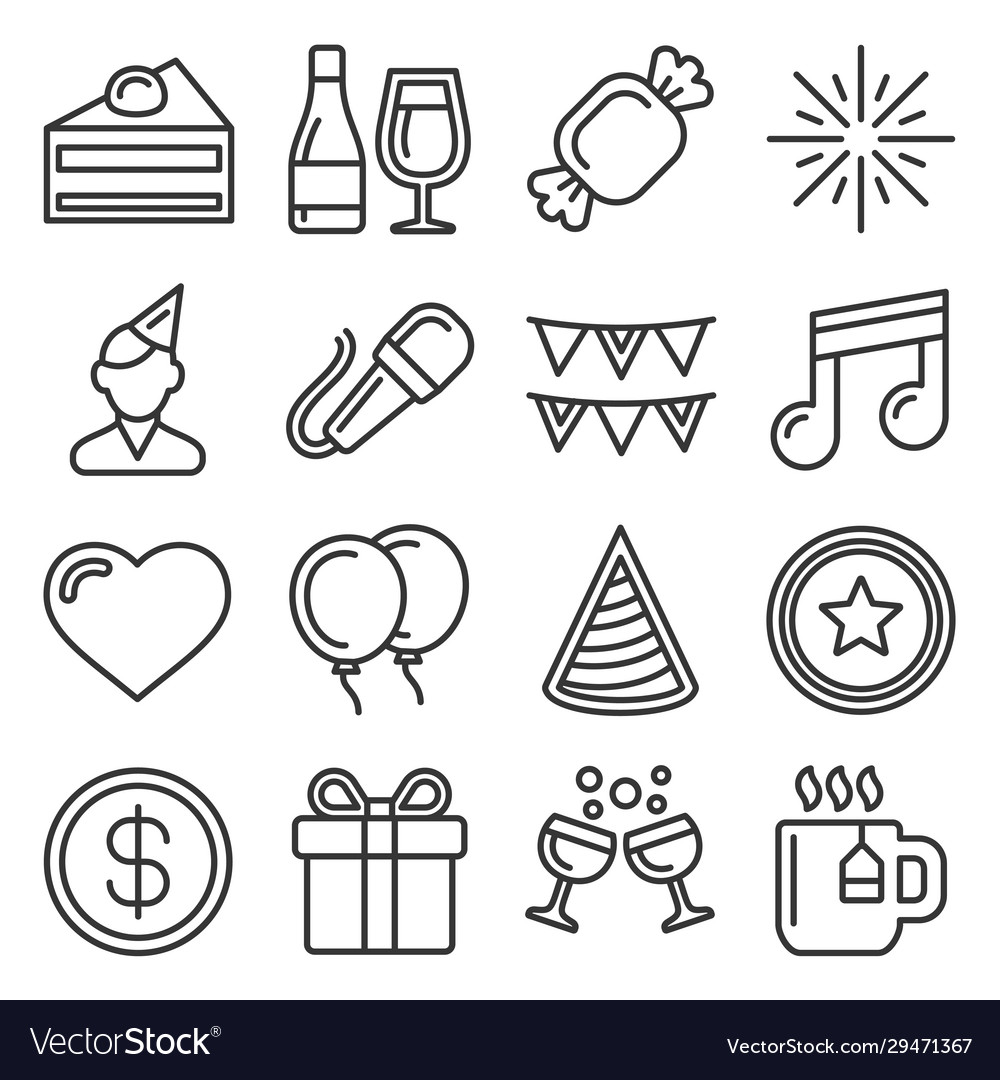 Party and celebration icons set on white