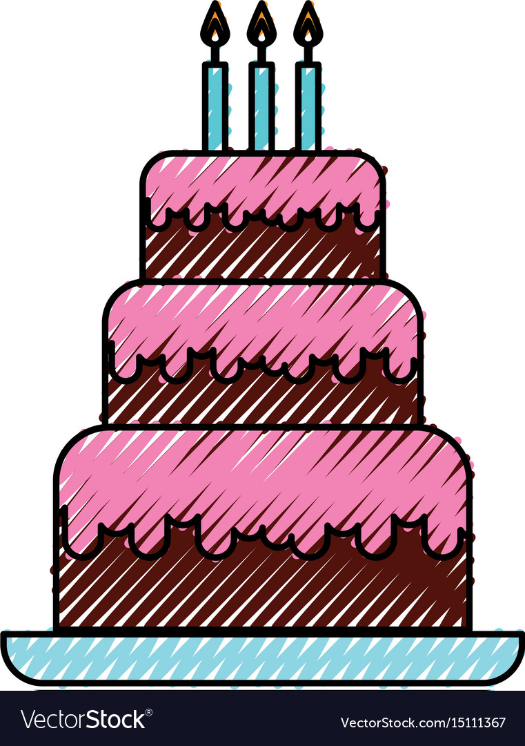 Awesome Scribble Cute Birthday Cake Cartoon Royalty Free Vector Funny Birthday Cards Online Aboleapandamsfinfo