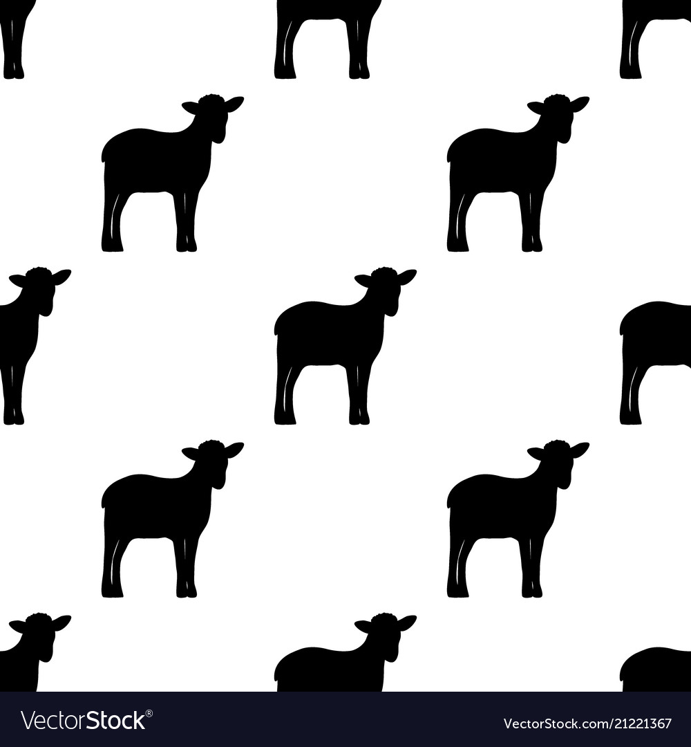 Seamless background silhouette lambs