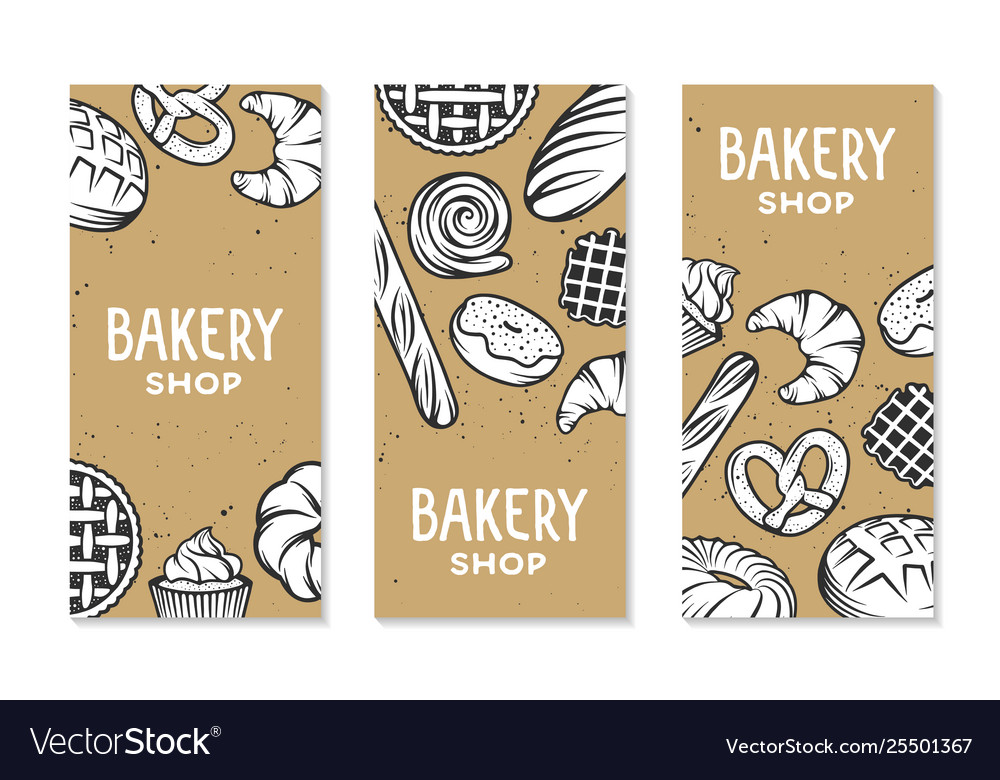 Set bakery engraved elements typography design