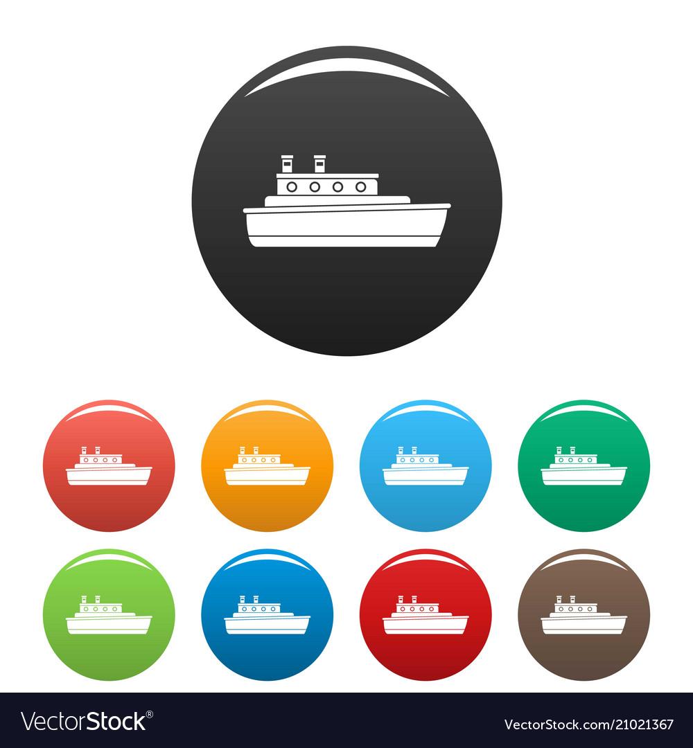 Ship travel icons set color