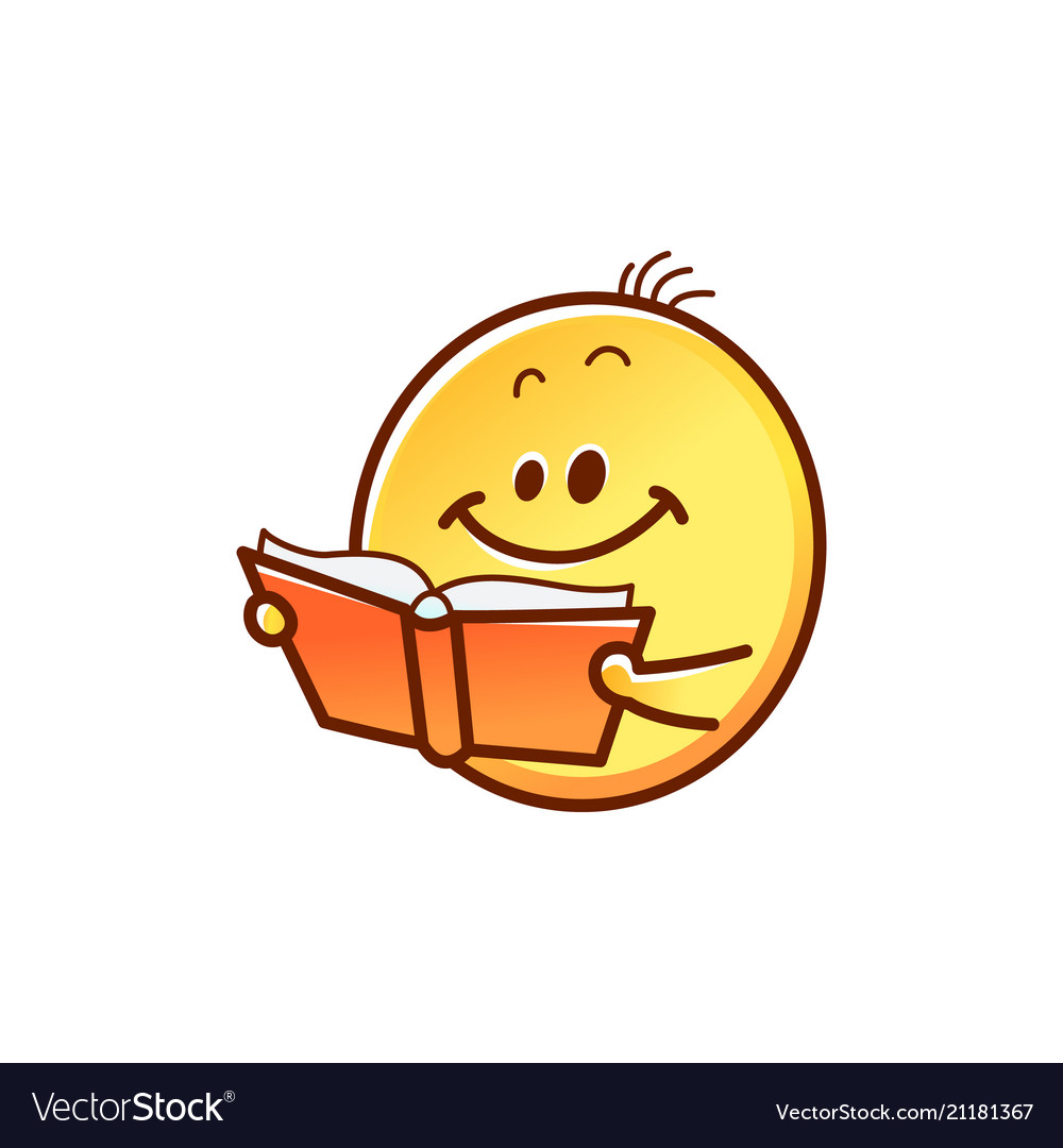 smiley face reading book cute smiling yellow vector image