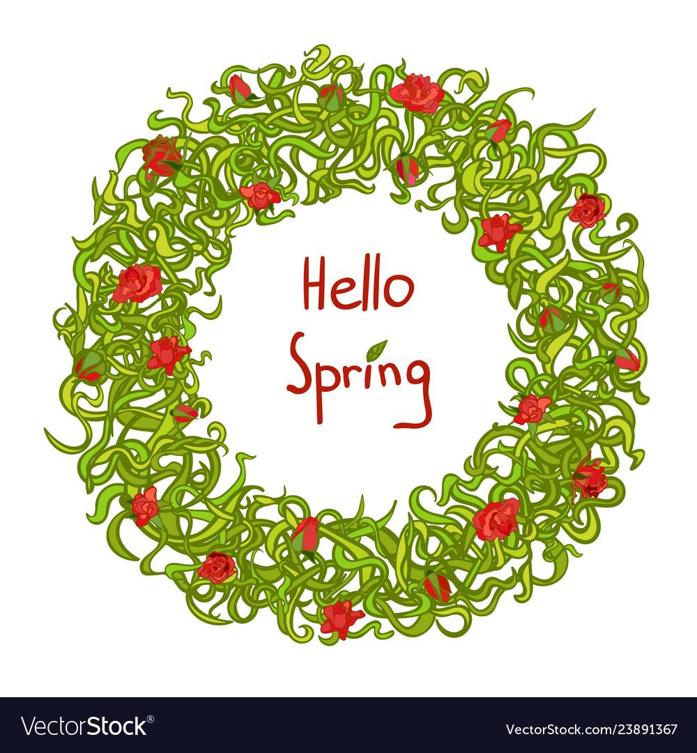 Spring frame floral wreath