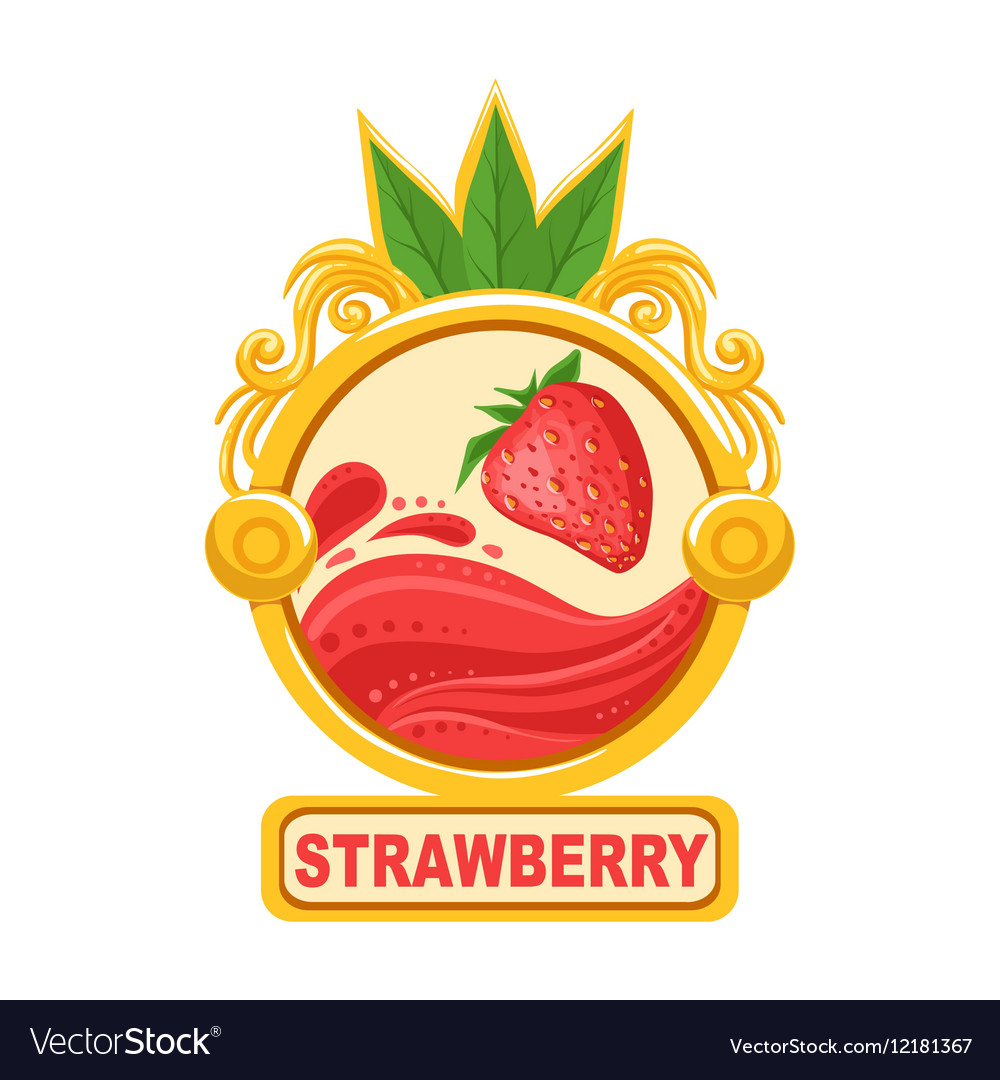 Strawberry Bright Color Jam Label Sticker Template