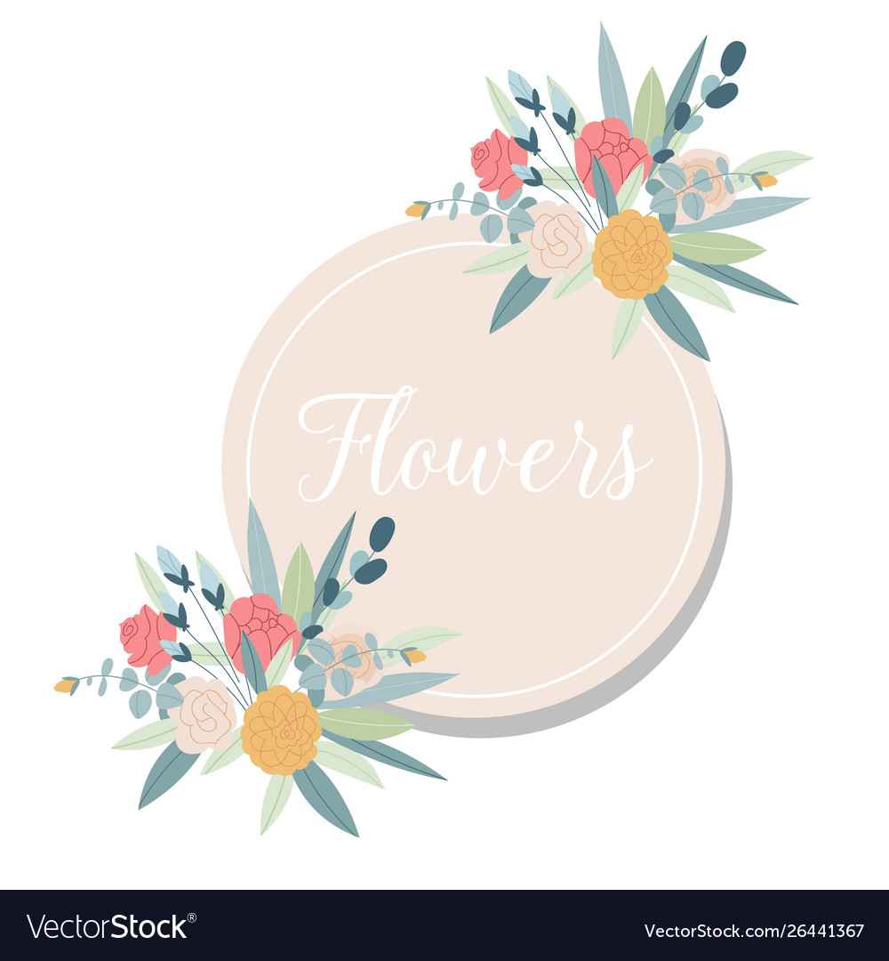 Summer vintage floral greeting card with blooming