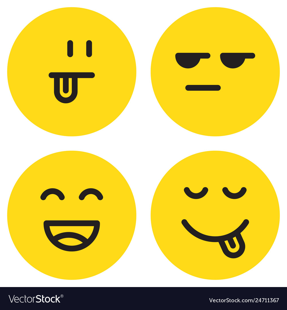 Yummy emoticon with happy smile and tongue