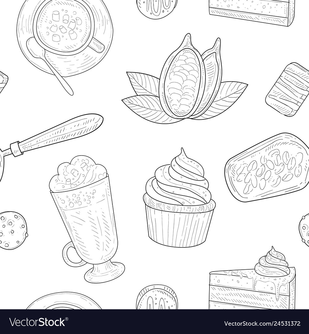 Cocoa products seamless pattern chocolate