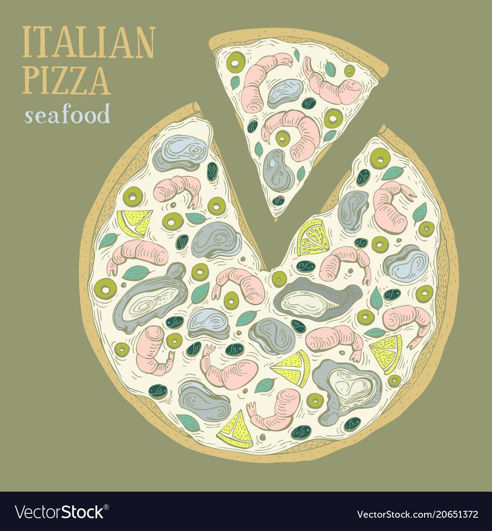 Colorful of italian pizza seafood