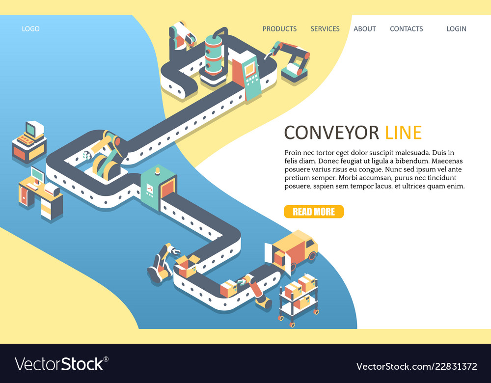 Conveyor line landing page website template