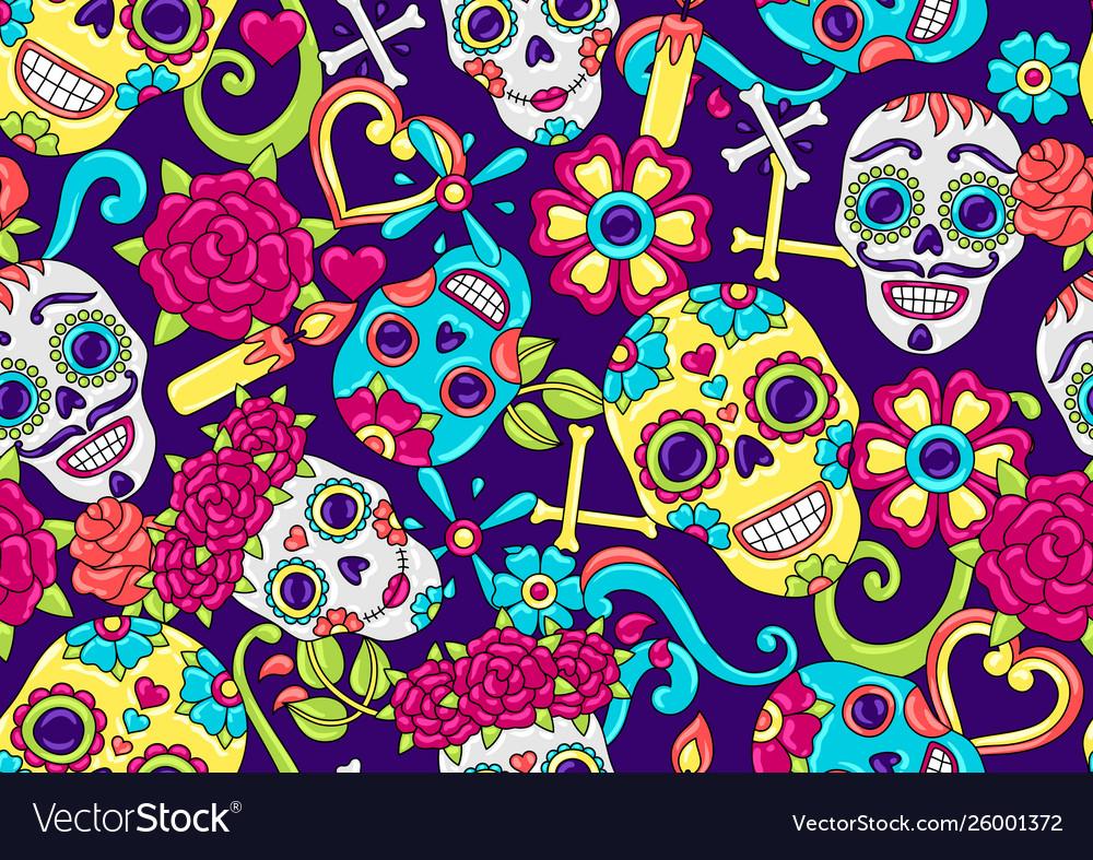 Day dead seamless pattern sugar skulls