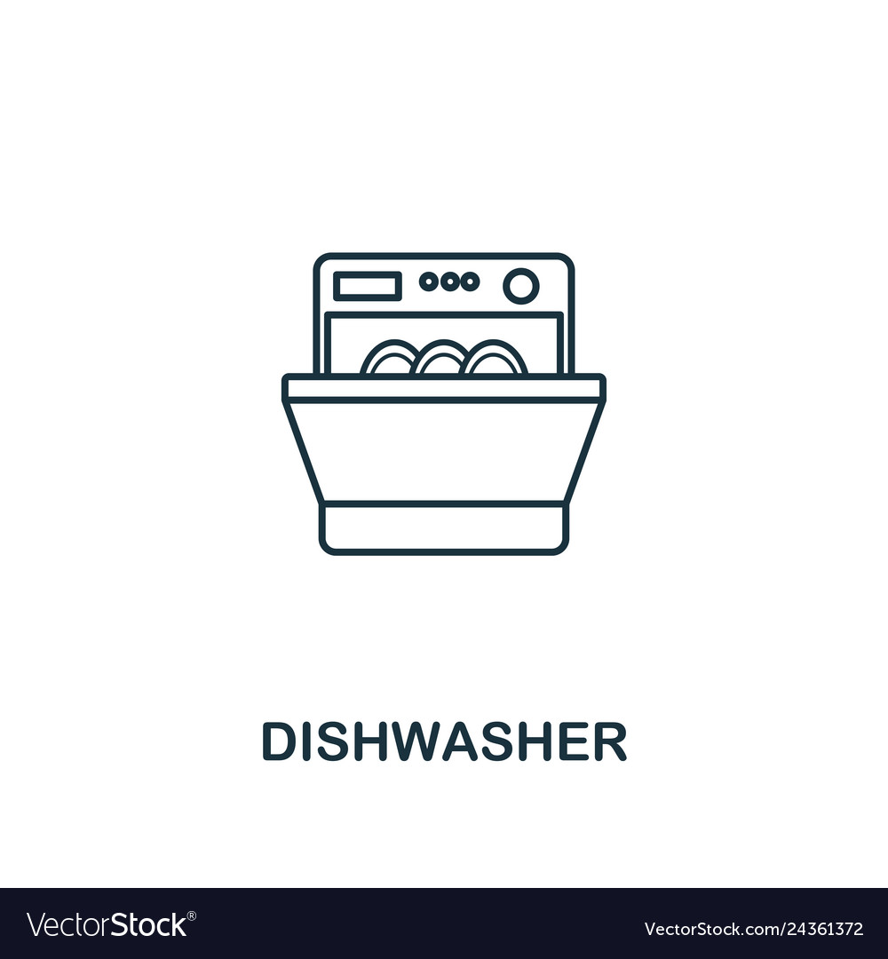 Dishwasher icon thin style design from household