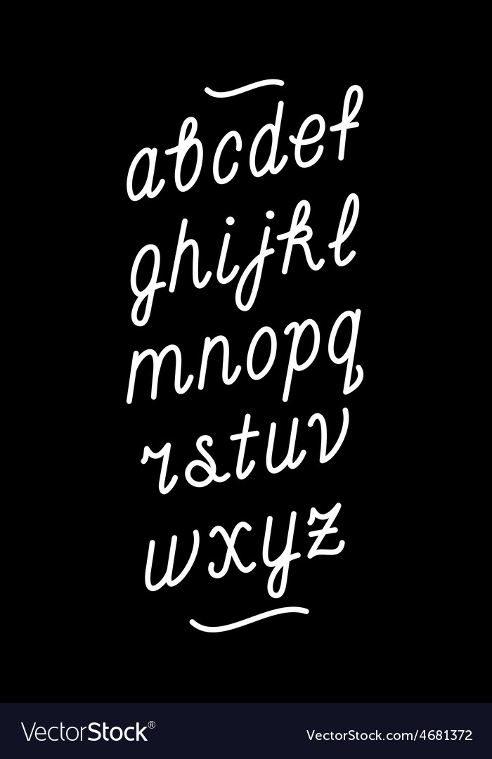 Hand drawn chalk board cursive font alphabet
