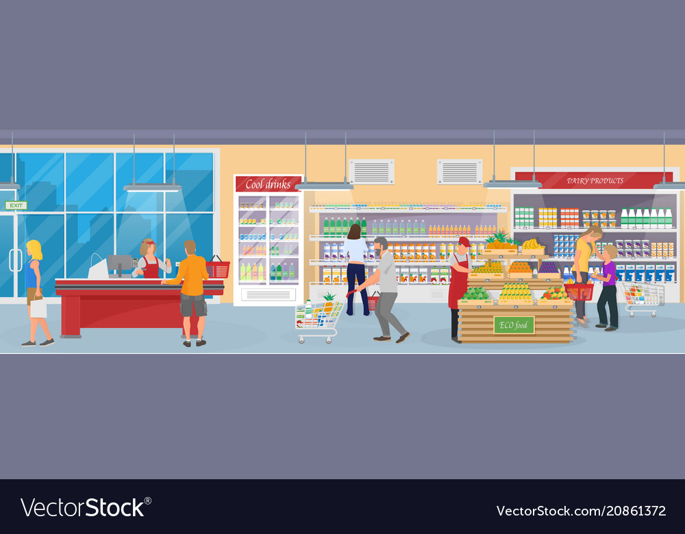 Interior of a modern supermarket with goods