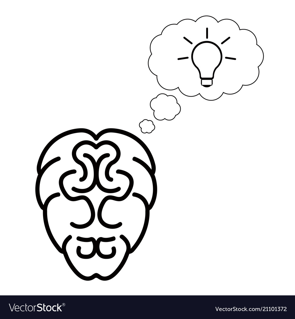 Isolated brain outline vector image