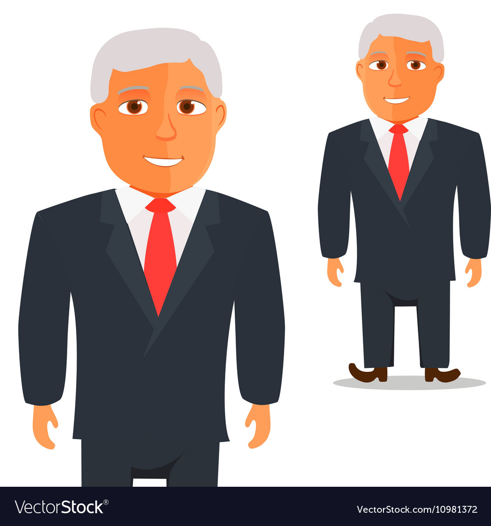 Man in Black Suit with Red Tie Cartoon Character
