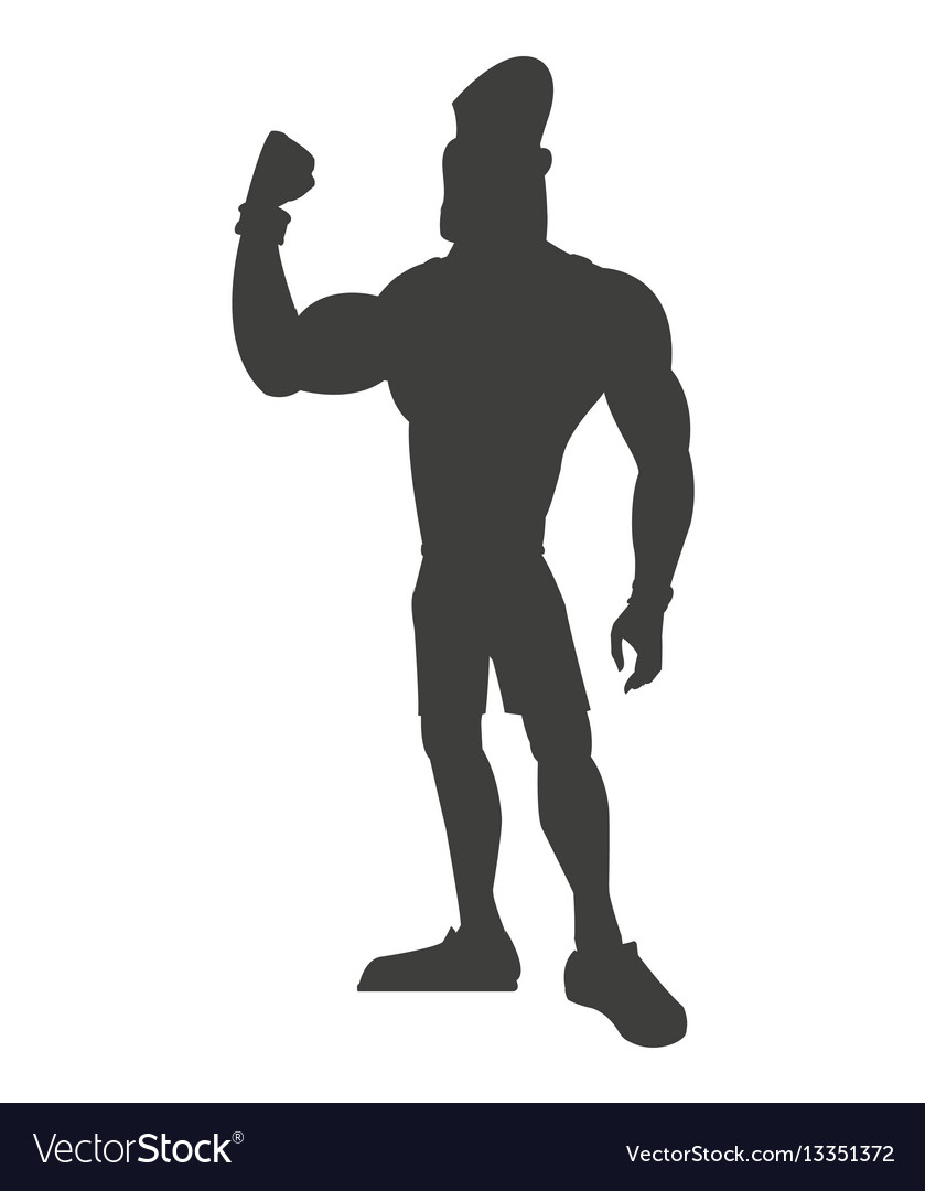 Silhouette healthy man athletic strong