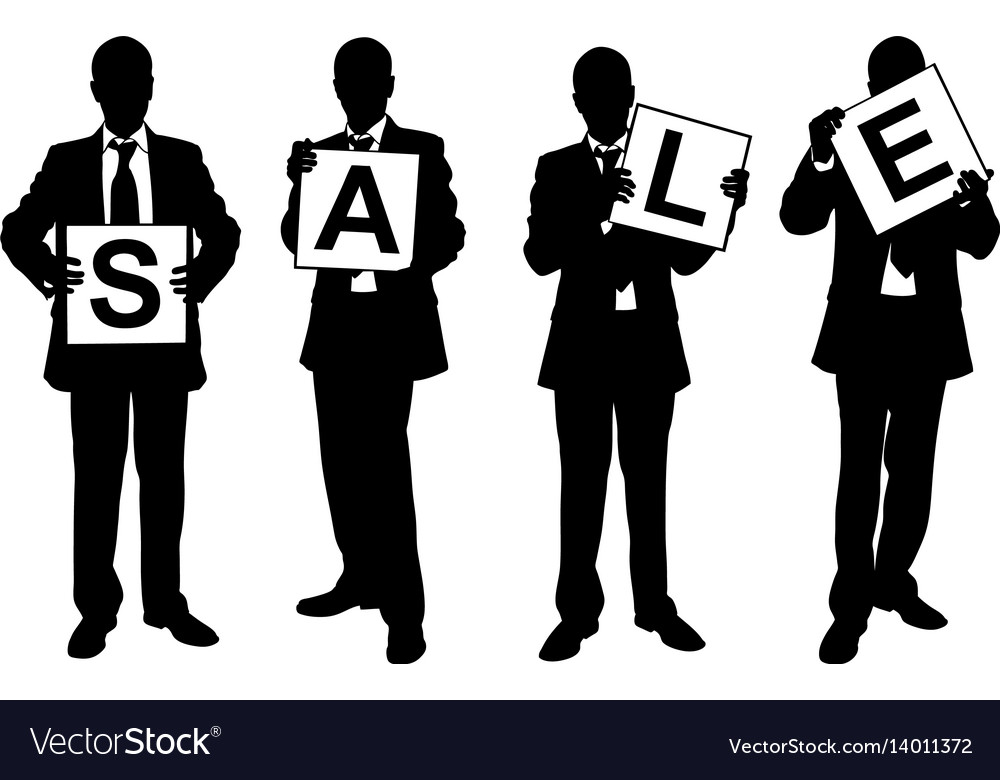 Silhouettes of men holding sale sign