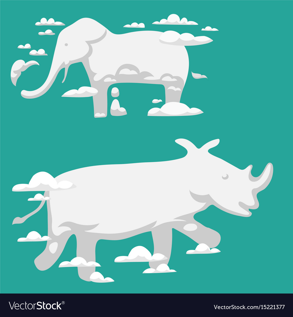 Animal clouds silhouette pattern