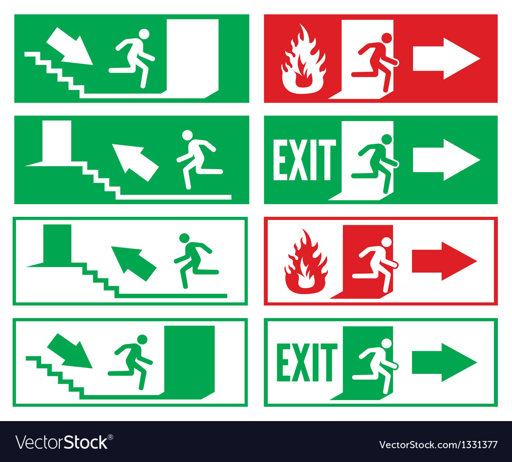 emergency exit signs royalty free vector image. Black Bedroom Furniture Sets. Home Design Ideas