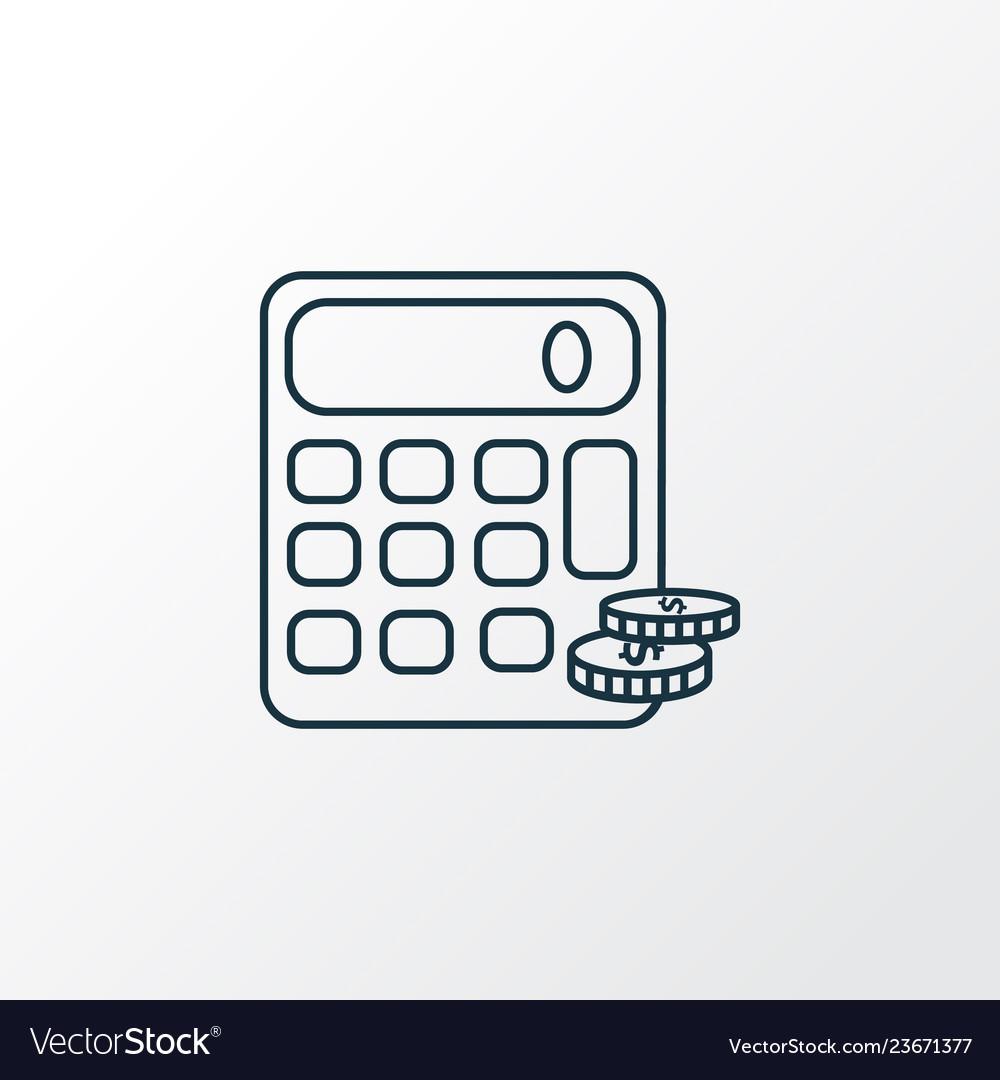 Finance Calculator Icon Line Symbol Premium Vector Image