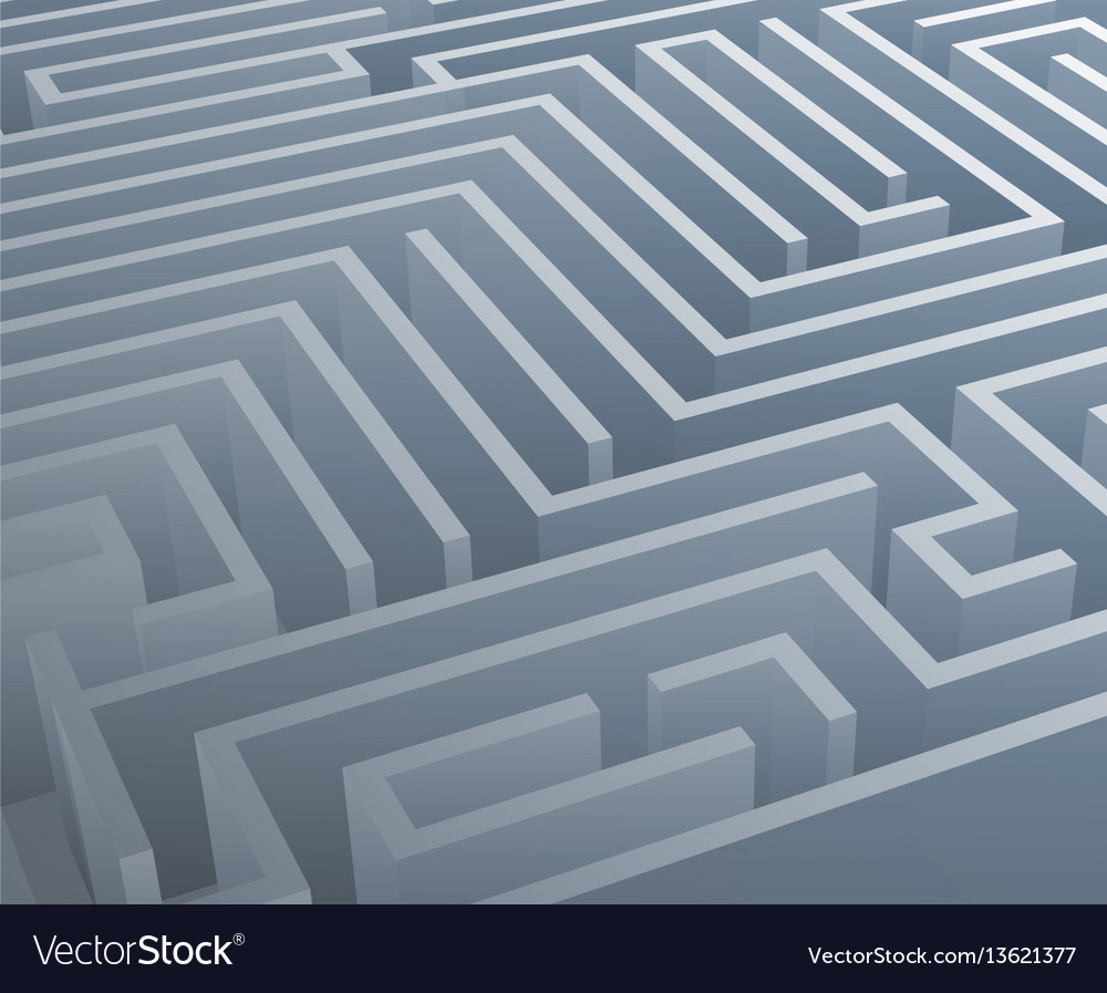 Intricacy labyrinth isometric maze background 3d