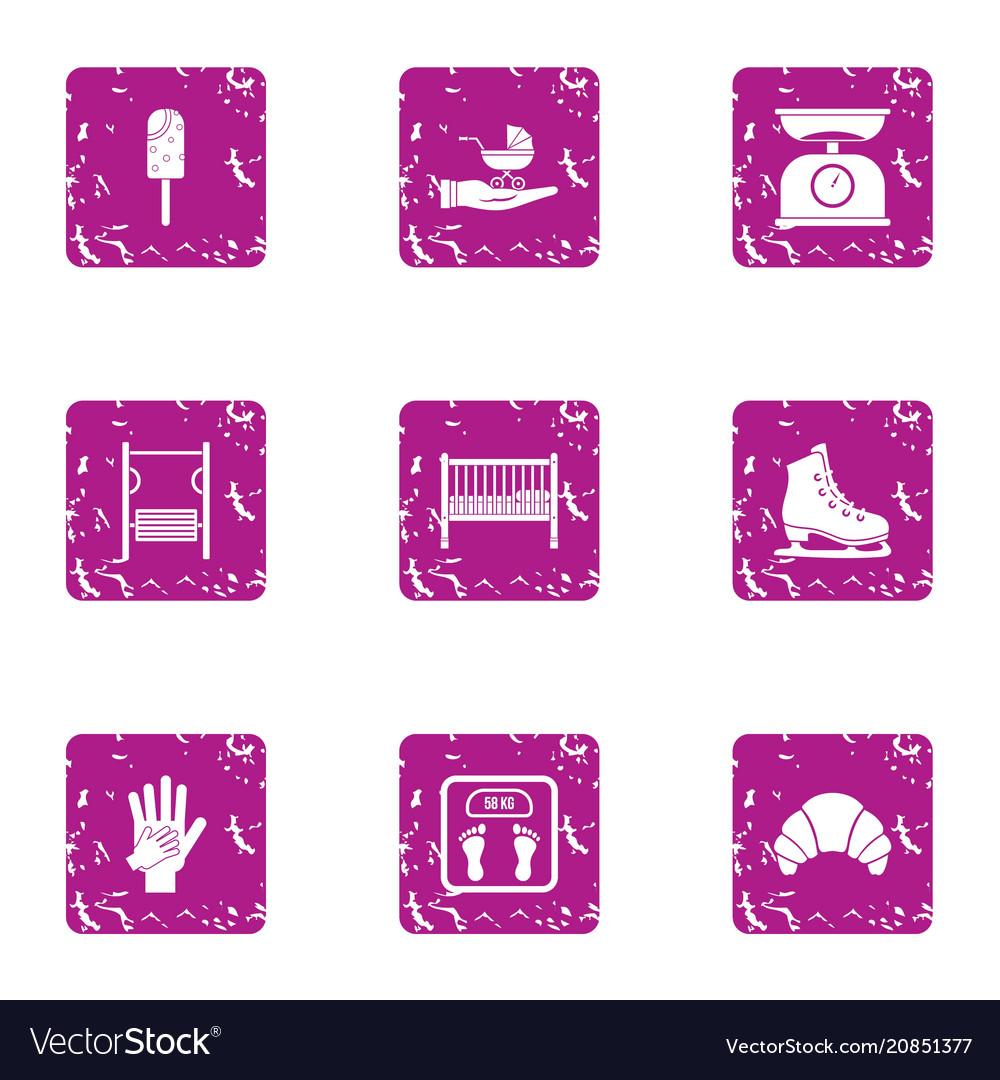 Kid moment icons set grunge style