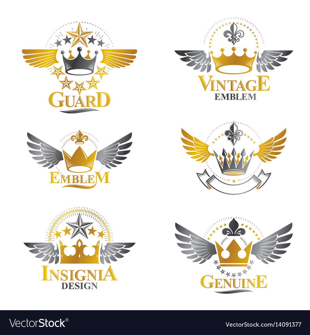 Majestic crowns emblems set heraldic coat of arms vector image