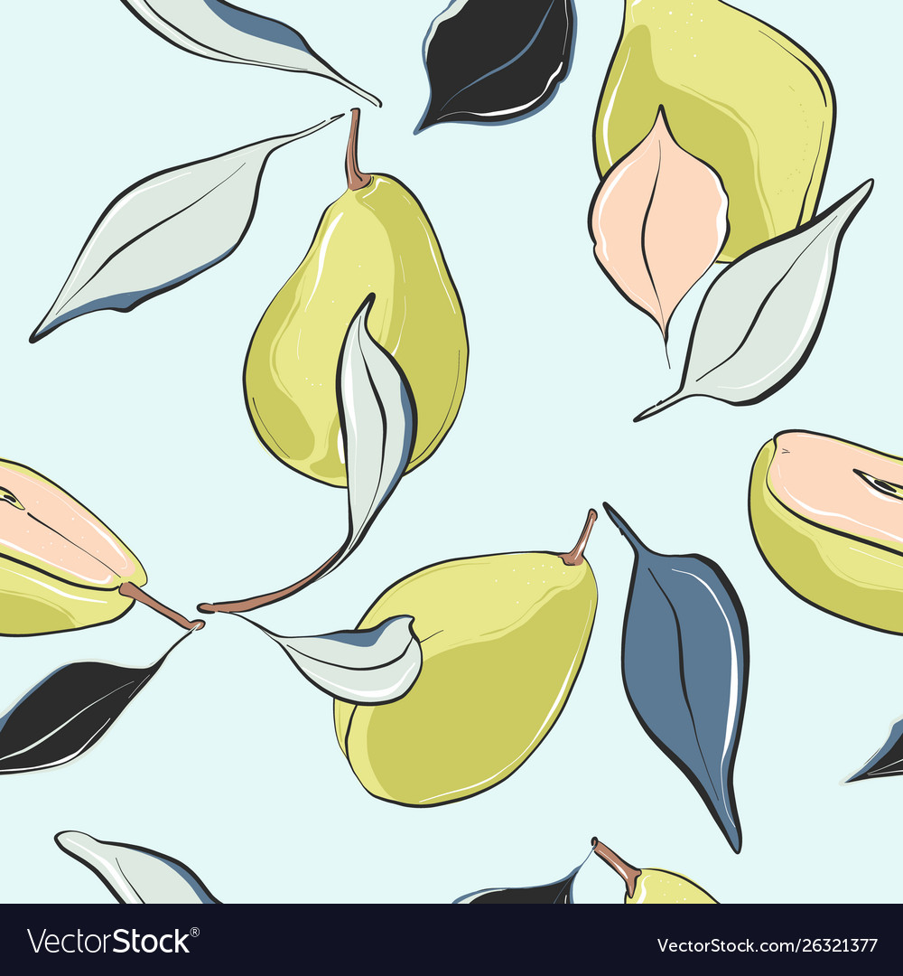 Pear blossomnursery pattern hand-drawn fruit vector