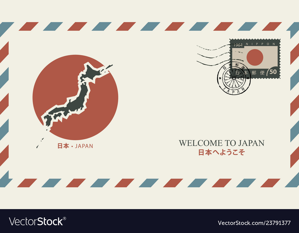Postal envelope with japanese map and flag